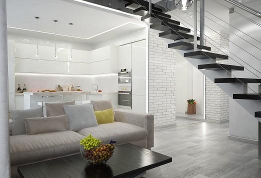 Дизайн проект квартиры в современном стиле для двоих человек