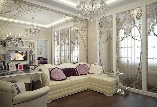 Дизайн проект однокомнатной квартиры в классическом стиле