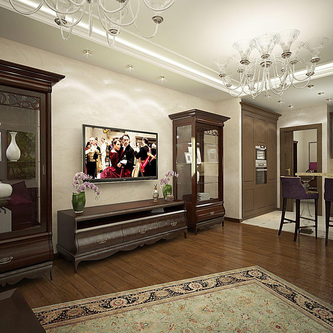 Дизайн проект трехкомнатной квартиры в классическом стиле ЖК Царицыно