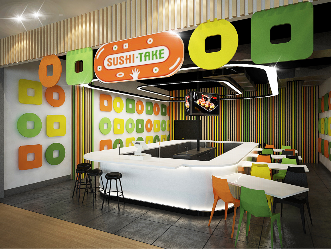 Дизайн проект общественных помещений суши-баров и кафе